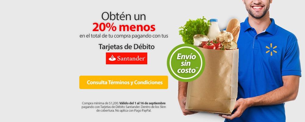 Walmart súper online: 20% de descuento con Santander y envío gratis.