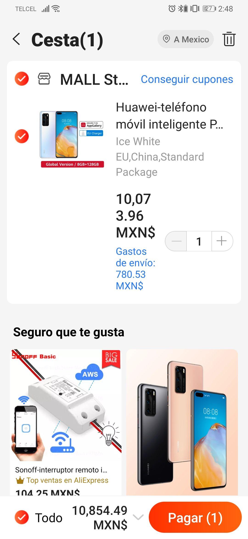 AliExpress: Huawei P40 5G versión Global, Smartphone con pantalla de 6.1 pulgadas, Kirin 990