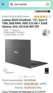 "Amazon: Laptop ASUS VivoBook , 15"", Core i7 10th, 8GB RAM, HDD 512 GB"