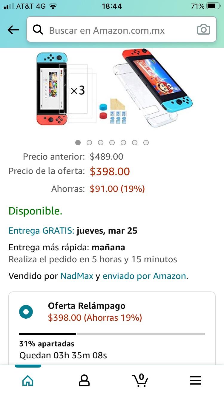 Amazon: NDOOL Kit de Accesorios Nintendo Swich 4 en 1 con Funda Nintendo Switch