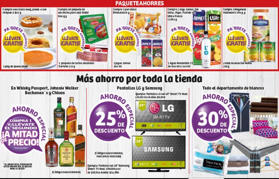Soriana Híper: 30% de descuento en todo el depto. de blancos, 2x1 1/2 en whiskys seleccionados, 25% de descuento en pantallas seleccionadas LG y Samsung