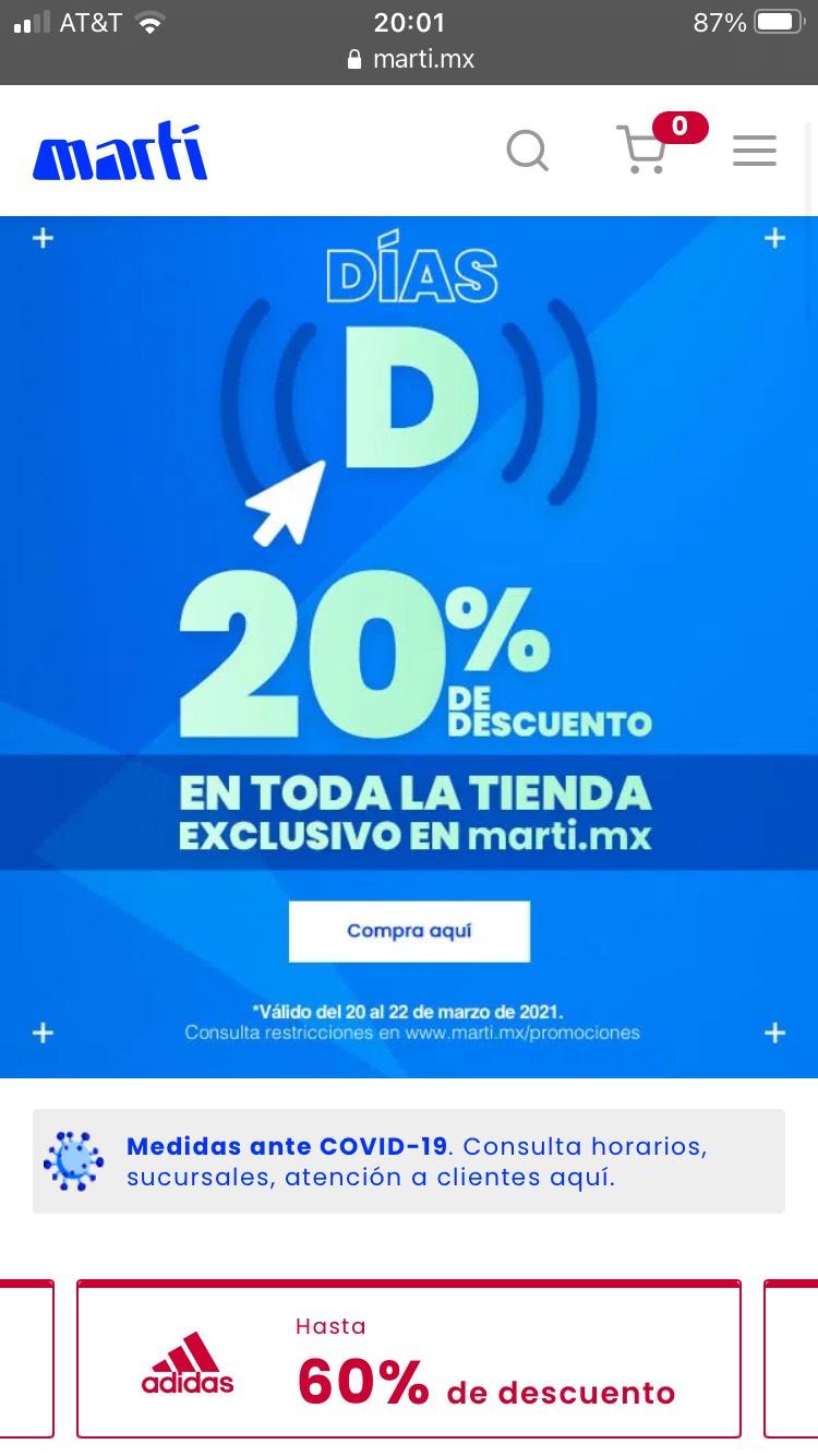20% toda la tienda y Descuentos de hasta 50% Marti en línea