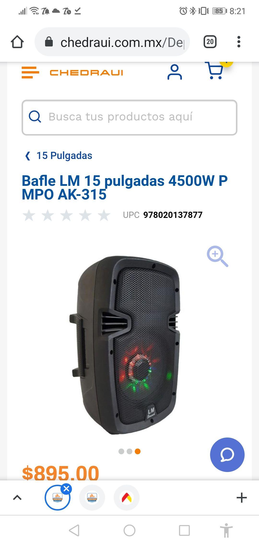 Bafle LM 15 pulgadas 4500W PMPO AK-315 (CHEDRAUI EN LINEA)