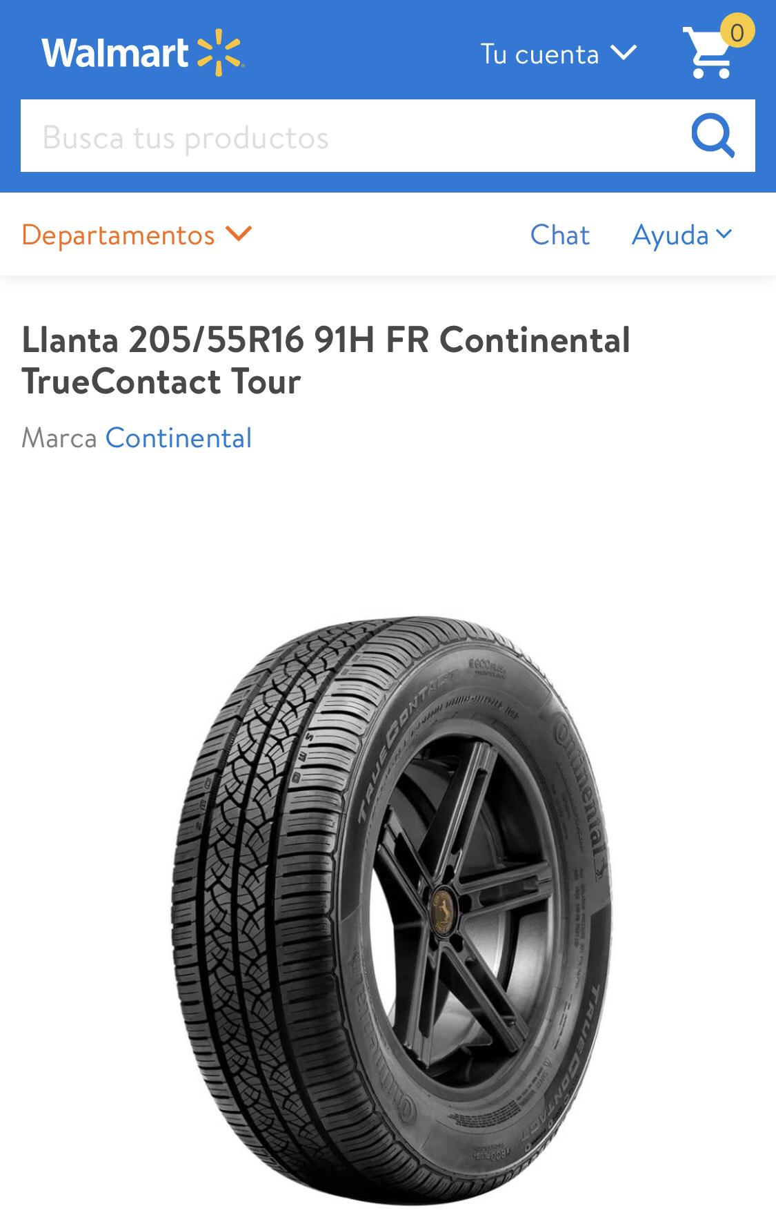 Walmart: 2 Llantas Continental 205/55R16 91H FR
