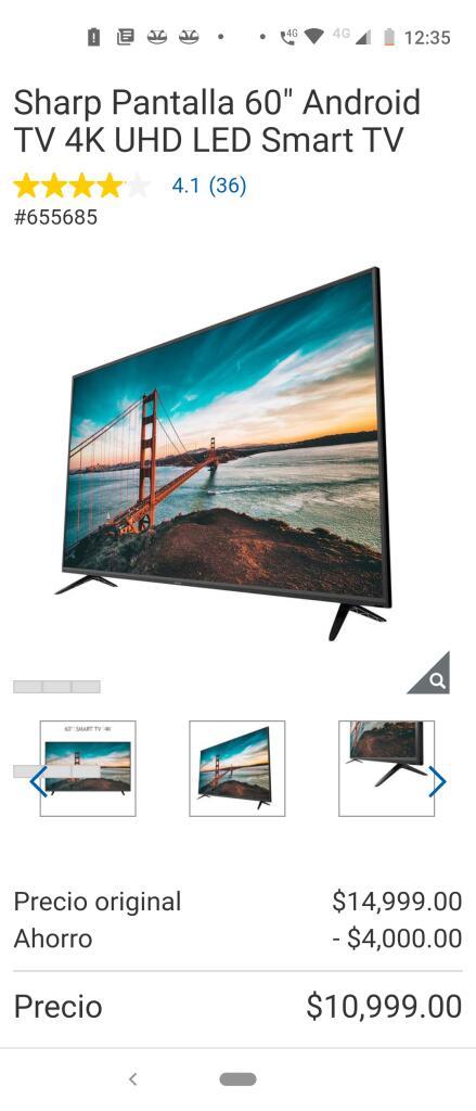 "Costco : Sharp Pantalla 60"" Android TV 4K UHD LED Smart TV"