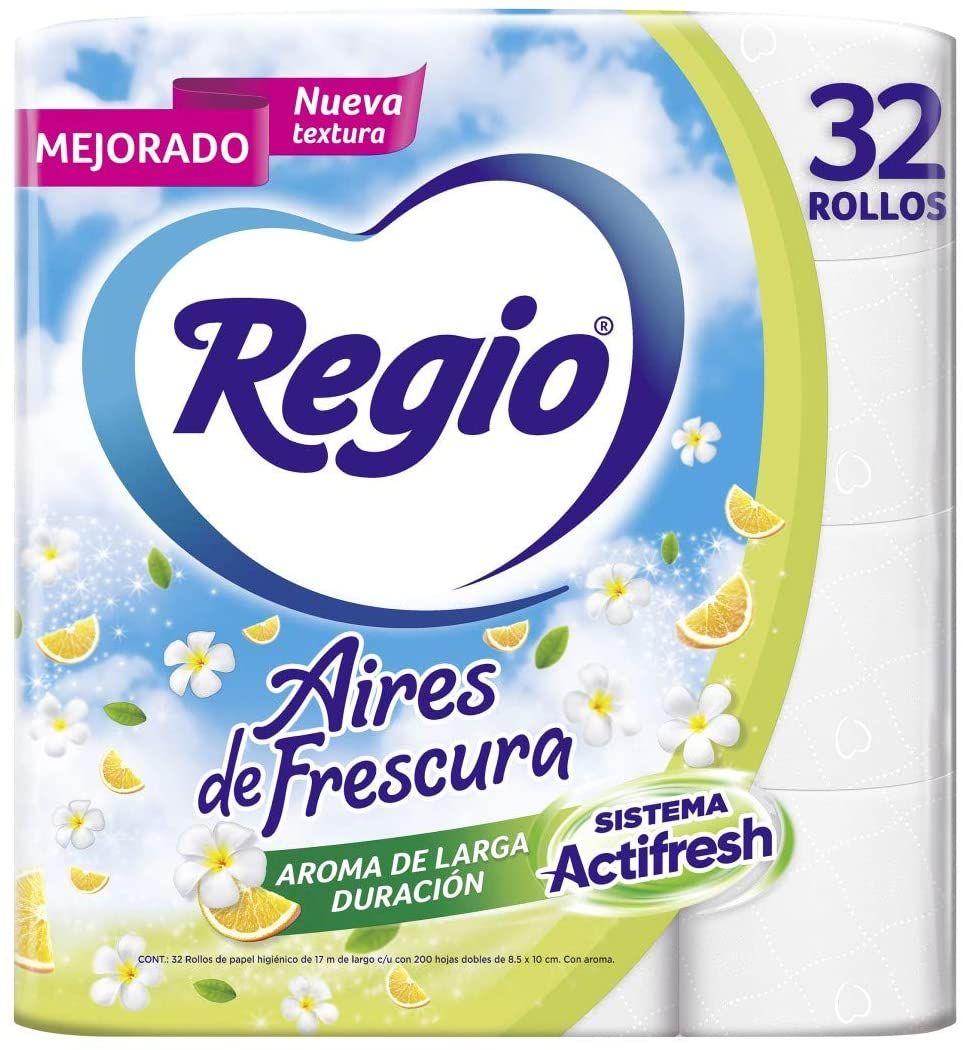Amazon: Regio Aires de Frescura Papel Higiénico, 200 hojas dobles, 32 Rollos