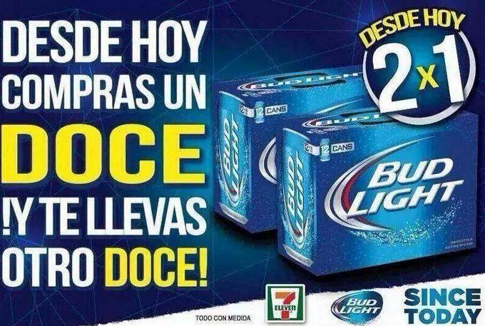 7 Eleven: 2x1 en 12 de cerveza Bud Light