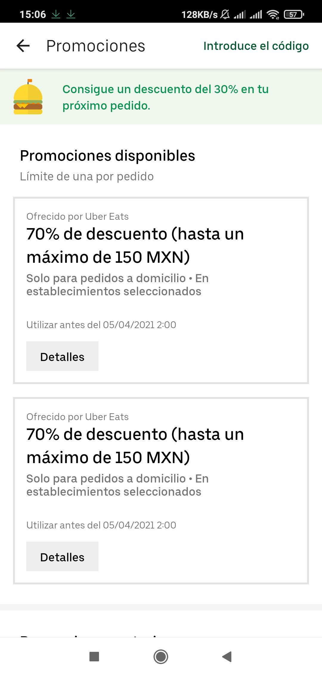 Uber Eats: 70% de descuento