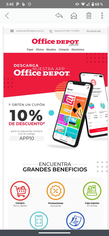 Office Depot: 10% de descuento en primera compra en app