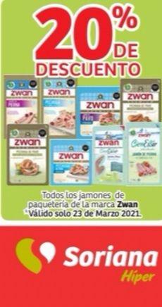 Soriana Híper y Súper: 20% de descuento en todos los jamones de paquetería de la marca Zwan