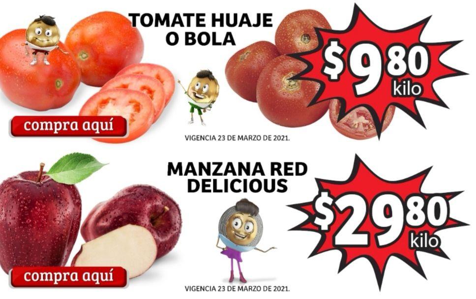 Soriana Mercado y Express: Frescura de Mercado 23 y 24 Marzo: Jitomate Huaje ó Bola $9.80 kg... Manzana Red Delicious $29.80 kg.