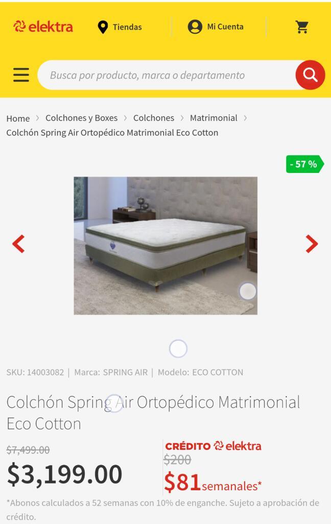 Elektra: Colchón matrimonial Spring Air Eco cotton
