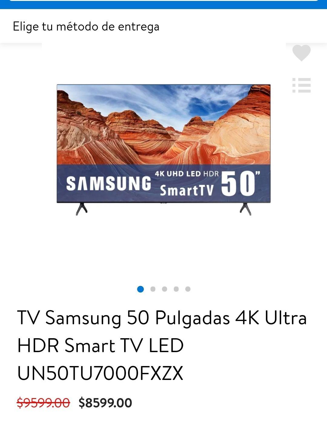 Walmart: TV Samsung 50 Pulgadas 4K Ultra HDR Smart TV LED