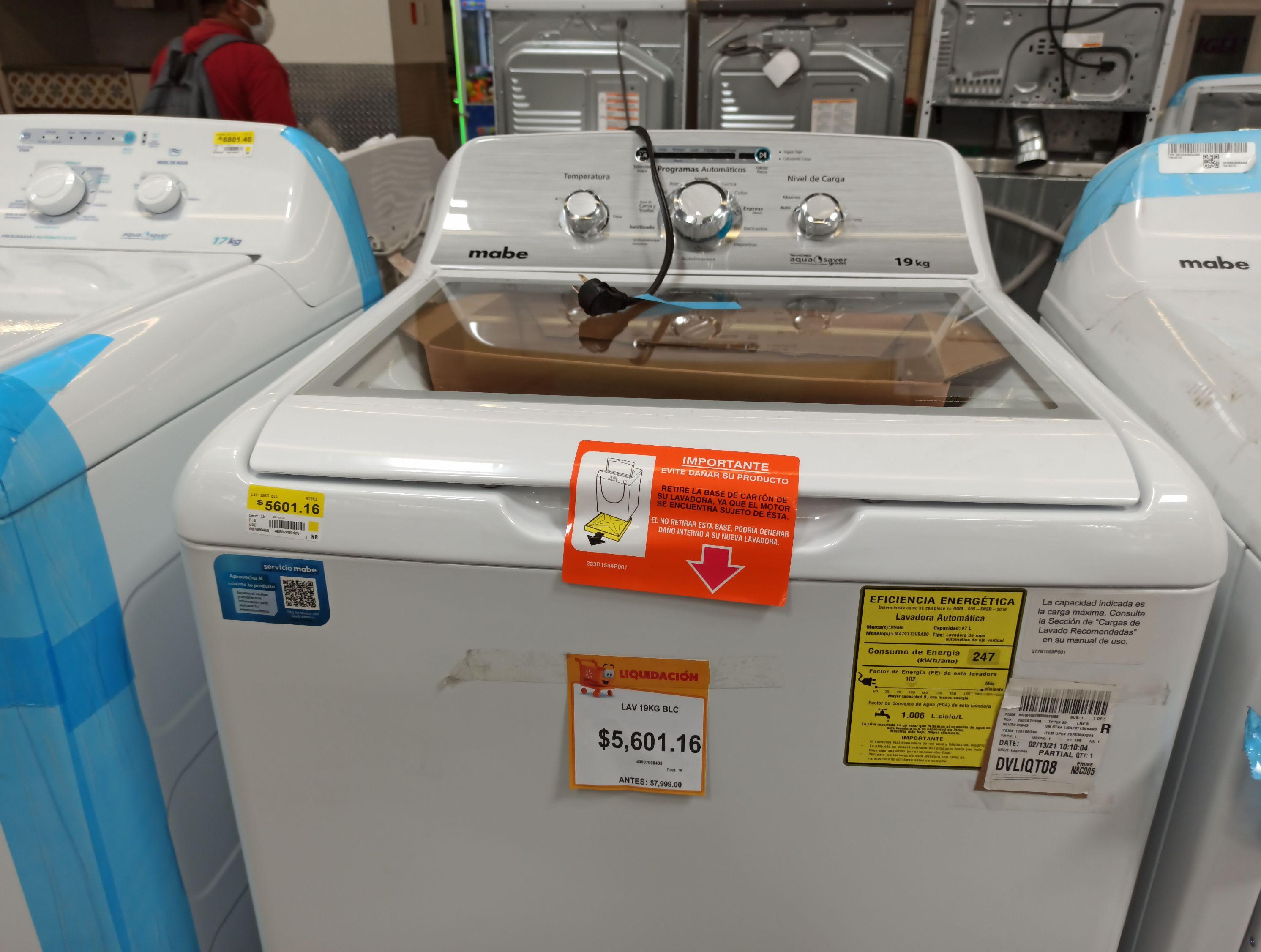 Walmart: Lavadora Mabe 19 kg