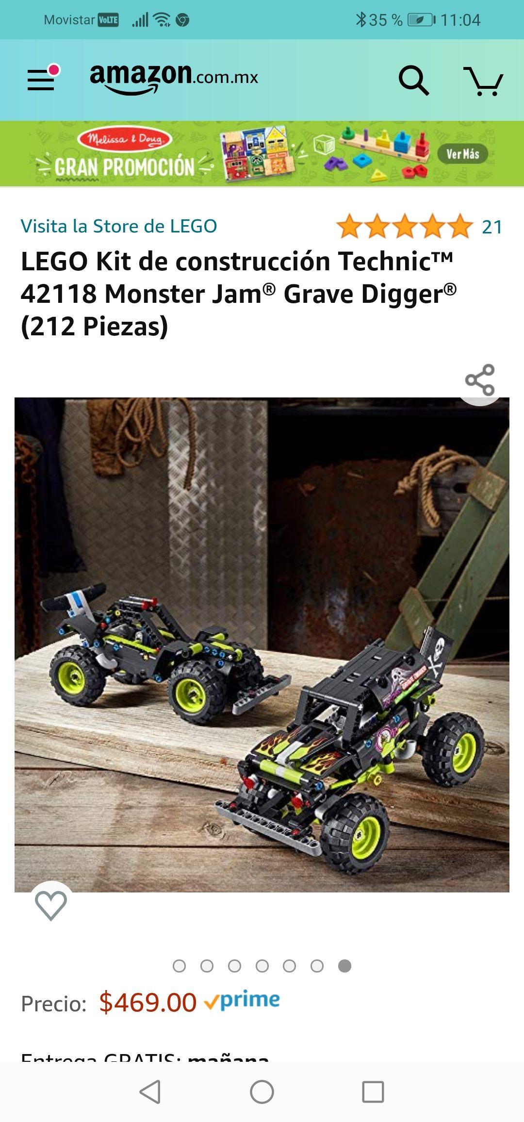 Amazon : LEGO Kit de construcción Technic™ 42118 Monster Jam® Grave Digger® (212 Piezas)