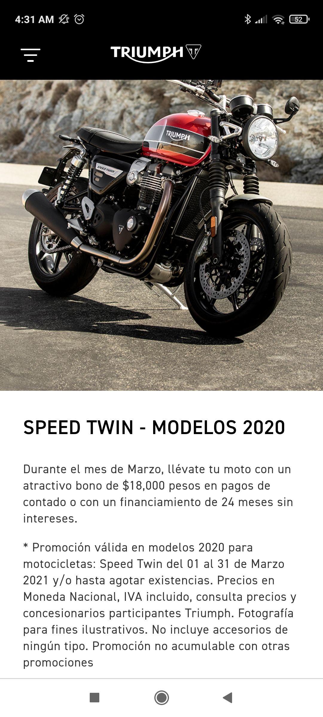 Triumph: speed twin 2020 a 24 meses sin intereses o bono de 18000 al contado