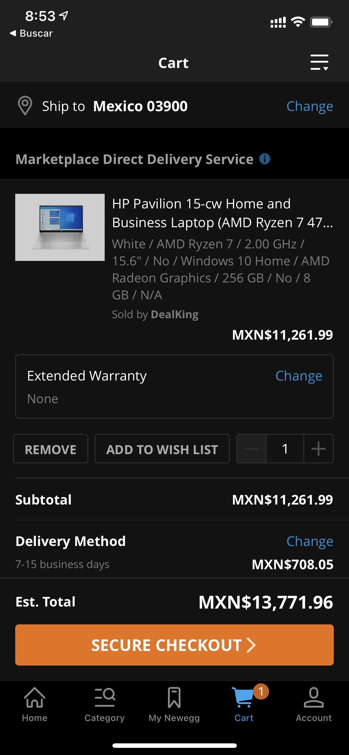 Newegg: laptop hp ryzen 7 4700u FullHD 8-core 8gb 256 ssd