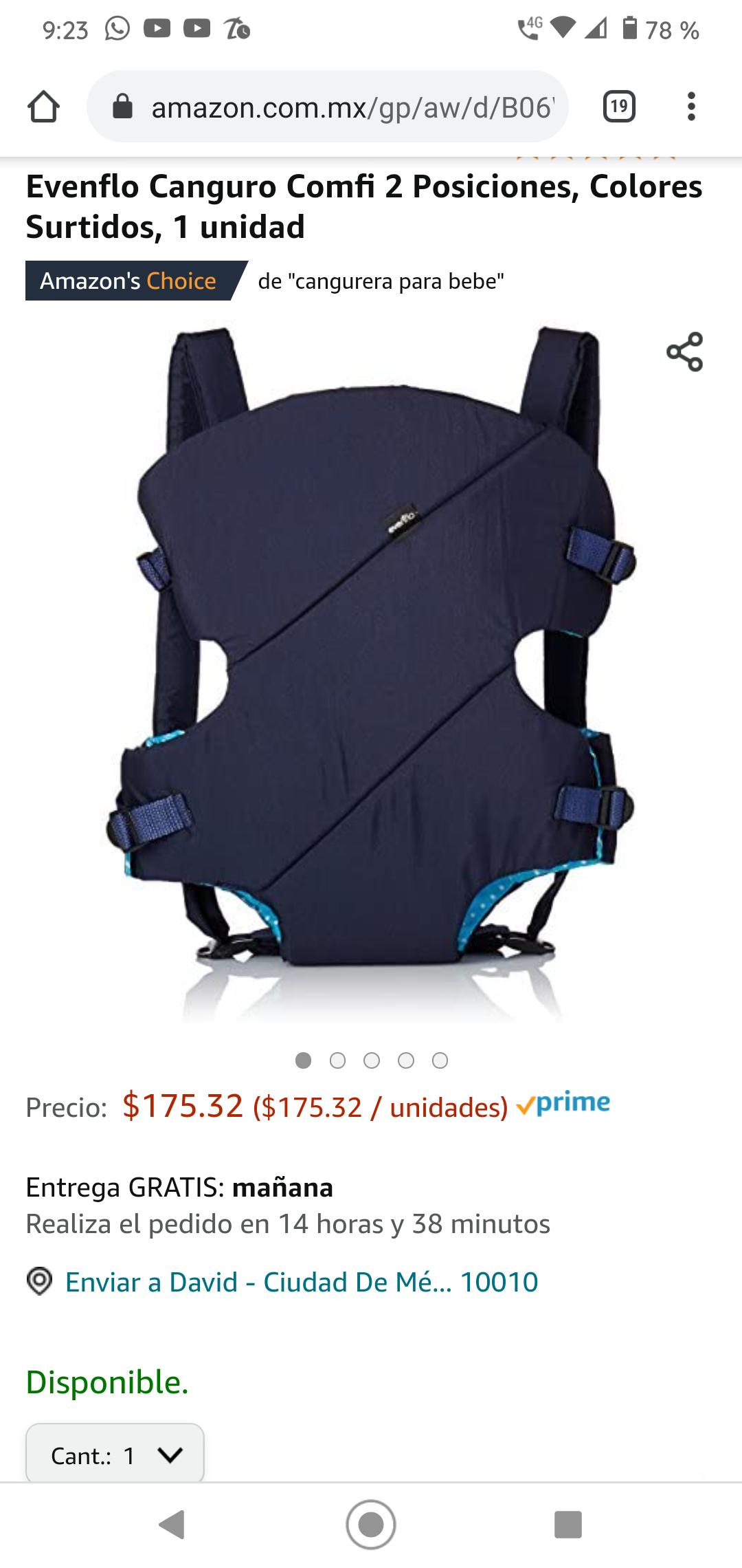 Amazon - Evenflo Canguro Comfi 2 Posiciones, Colores Surtidos,