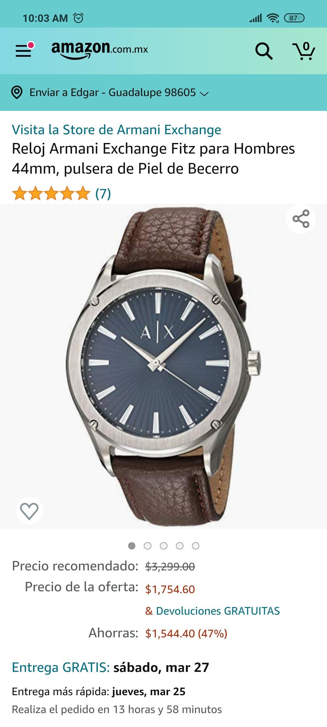 Amazon: Reloj Armani Exchange Fitz para Hombres 44mm