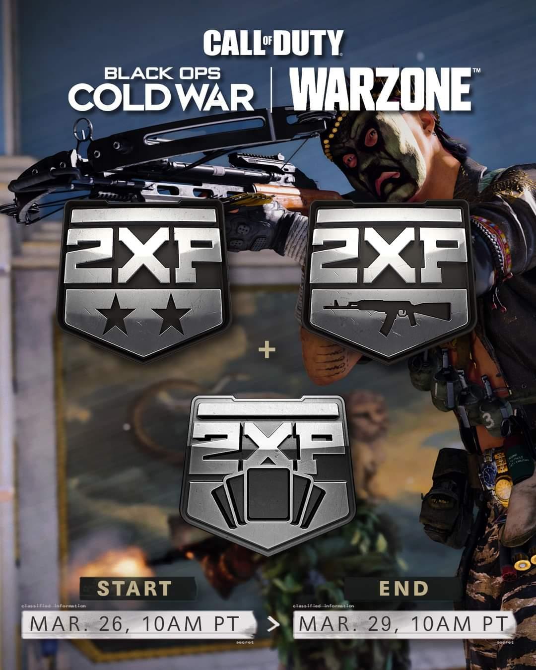 COD warzone y cold war: Fin de semana 2XP niveles, armas ypase de batalla.