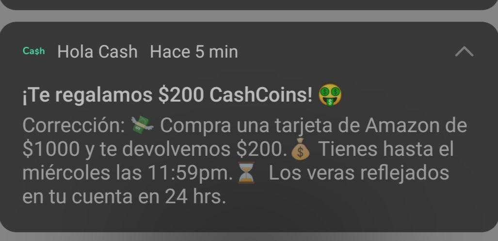 Hola Cash: $200 Cashback al comprar tarjeta Amazon de $1000