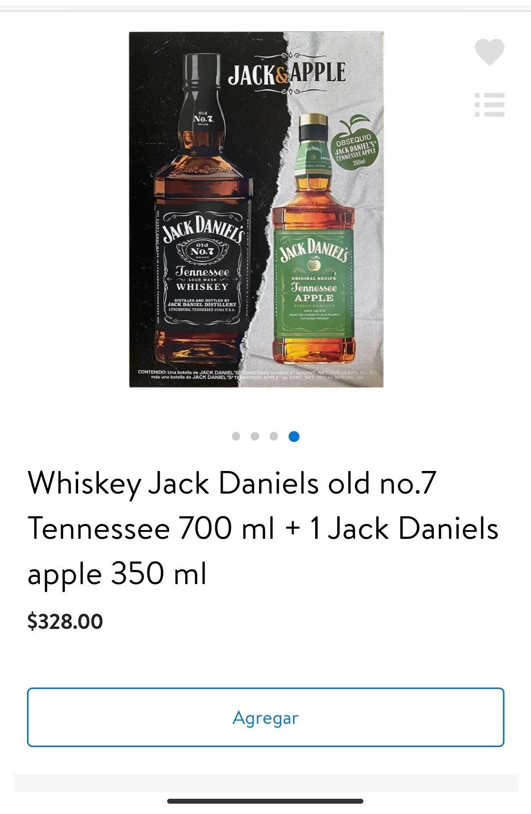 Walmart: Whiskey Jack Daniels old no.7 Tennessee 700 ml + 1 Jack Daniels apple 350 ml