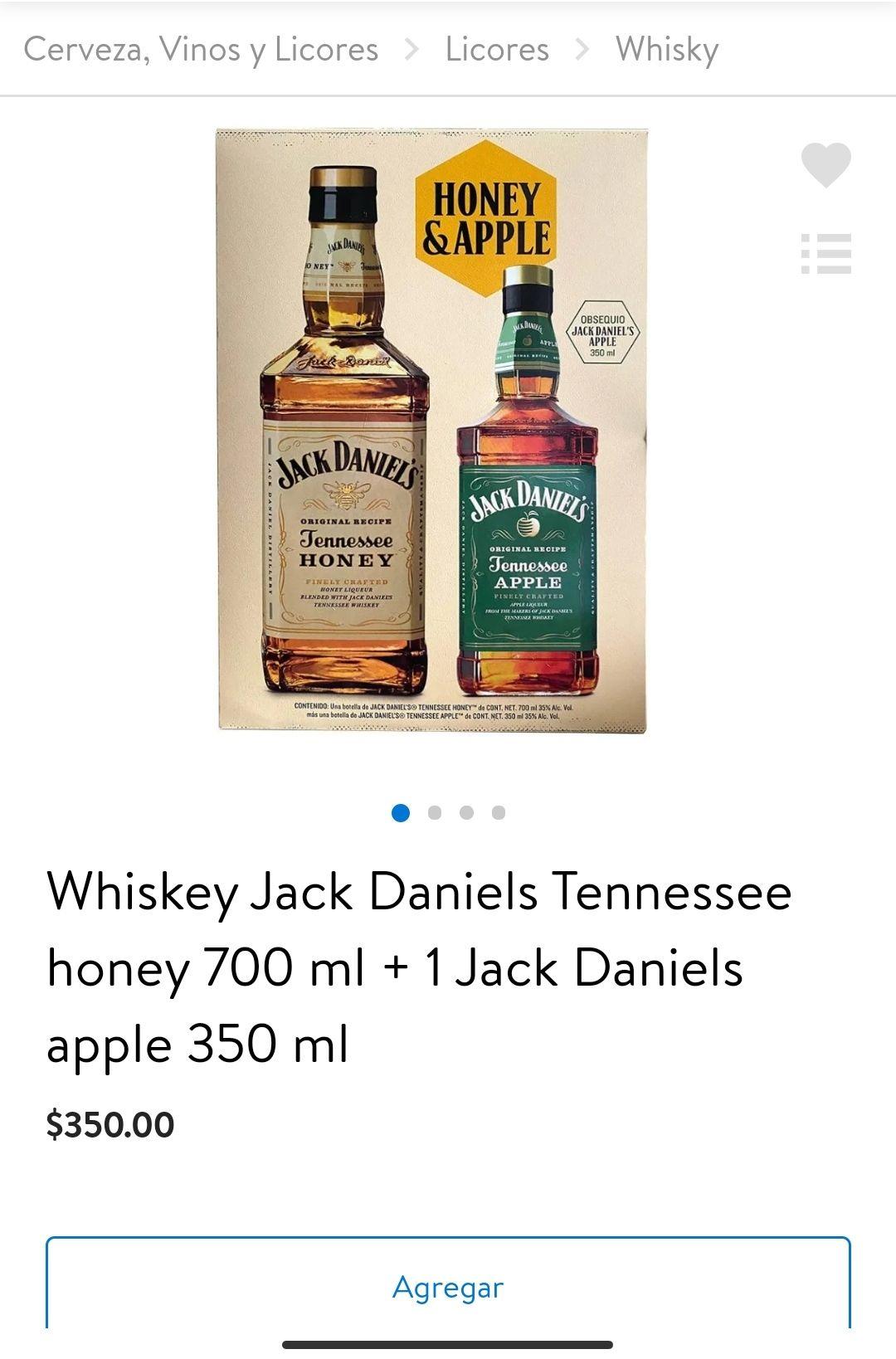 Walmart: Whiskey Jack Daniels Tennessee honey 700 ml + 1 Jack Daniels apple 350 ml