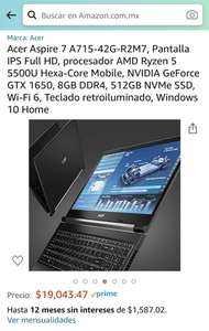 Amazon: Laptop Acer Aspire 7, procesador AMD Ryzen 5 5500U Hexa-Core Mobile, NVIDIA GeForce GTX 1650, 8GB DDR4, 512GB NVMe SSD, Wi-Fi 6