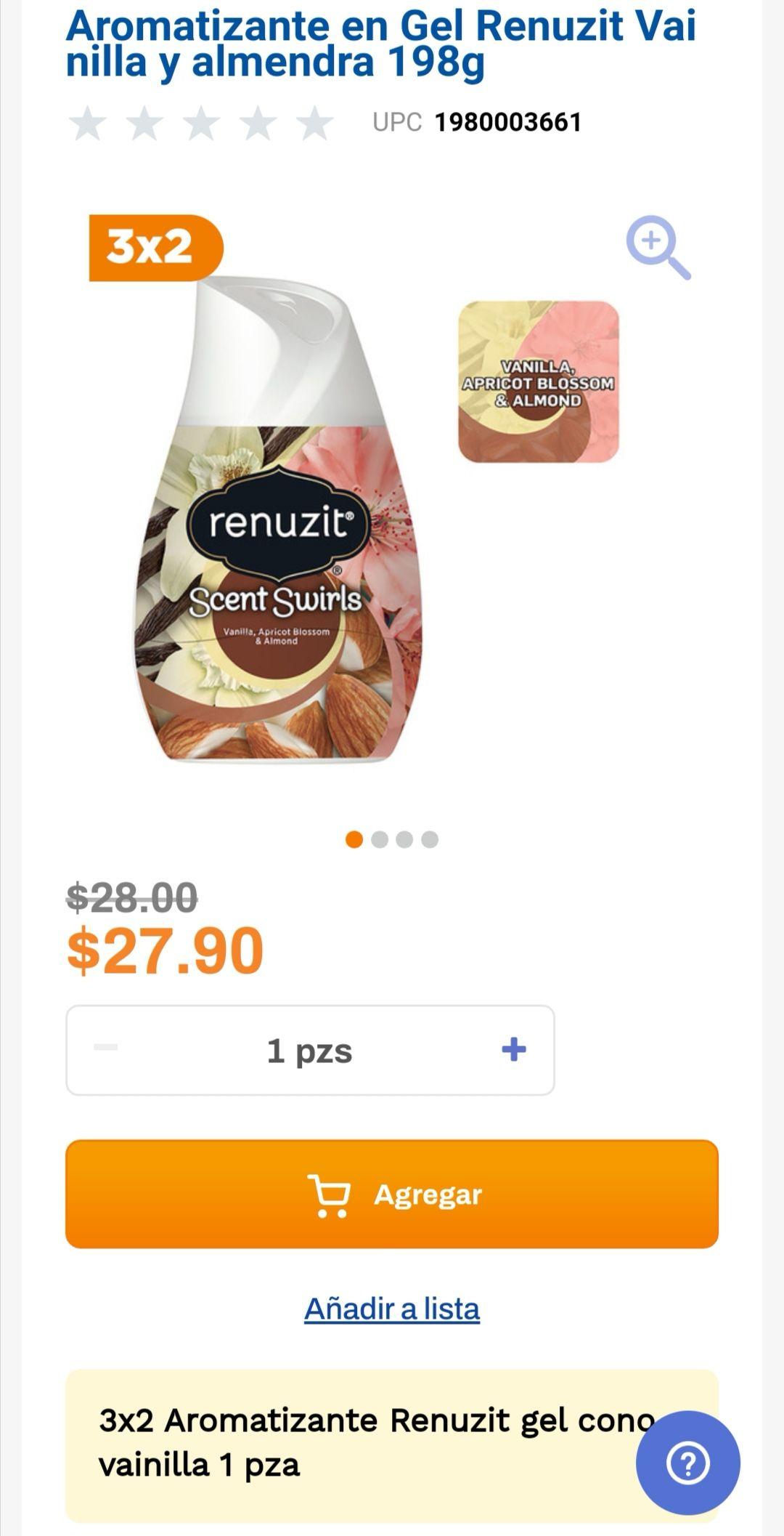 Chedraui: 3 x 2 en aromatizante en gel Renuzit vainilla y almendra 198 g.