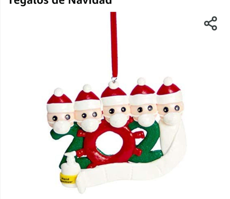 Amazon: adornos para árbol de navidad con cubrebocas