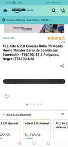 Amazon: Barra de Sonido TCL Roku