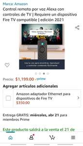 Amazon: Preventa - Control remoto por voz Alexa con controles de TV | Requiere un dispositivo Fire TV compatible | edición 2021