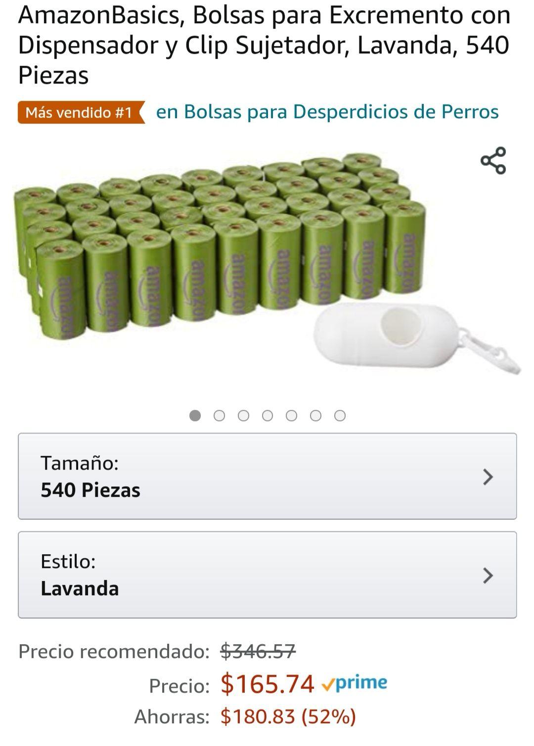 Amazon: 540 Bolsas para popo de mascota + dispensador