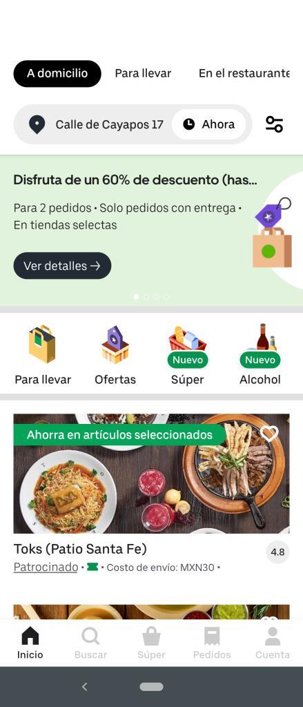 Uber EATS: 2 pedidos con 60% de descuento