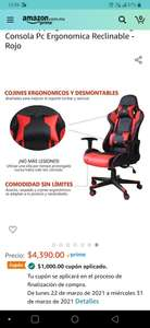 Amazon: Silla gamer reclinable