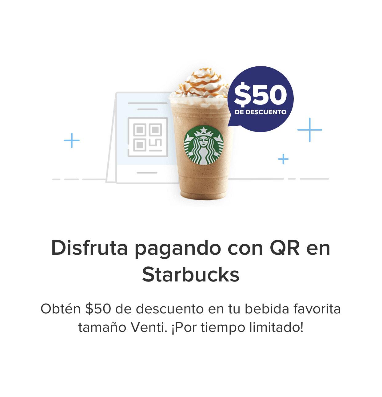Mercado Pago: $50 de descuento en Starbucks