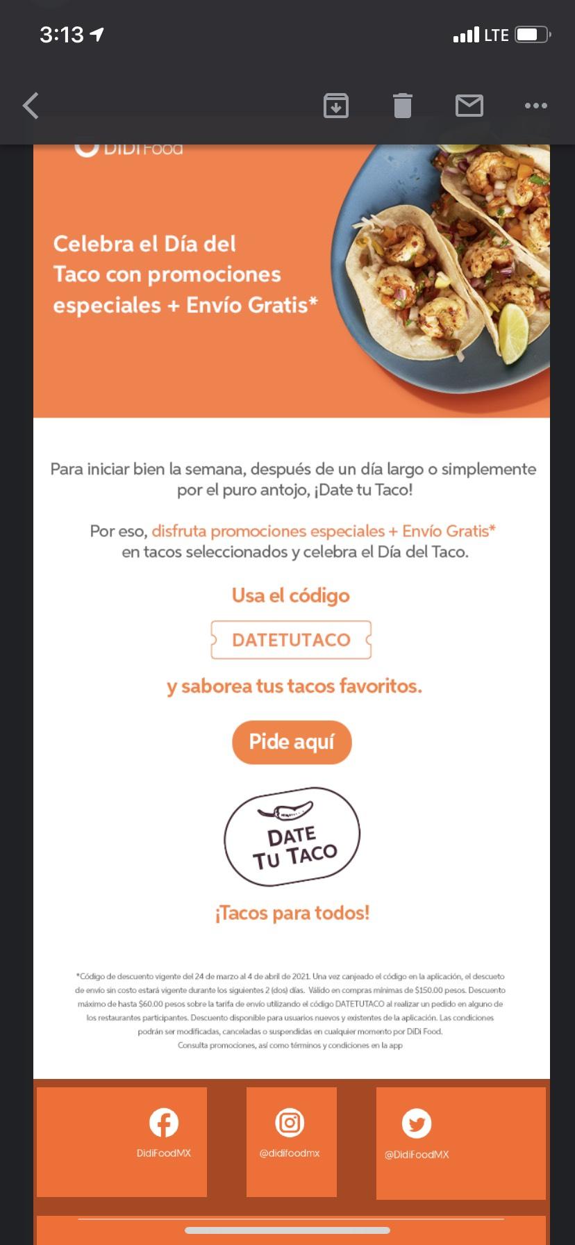 Descuento en DiDi Food compra mínima $150