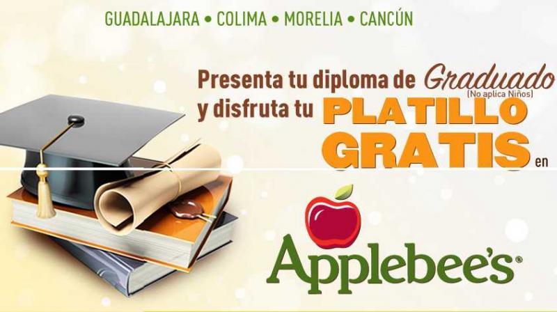 Applebee's: platillo gratis al presentar tu diploma de graduado