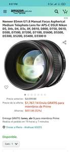 Amazon: Objetivo 85 mm Neewer Para Nikon. Manual.