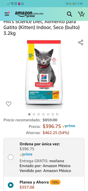 Amazon: Alimento para gato Hills Science Diet 3.2kg indoor con Planea y Ahorra