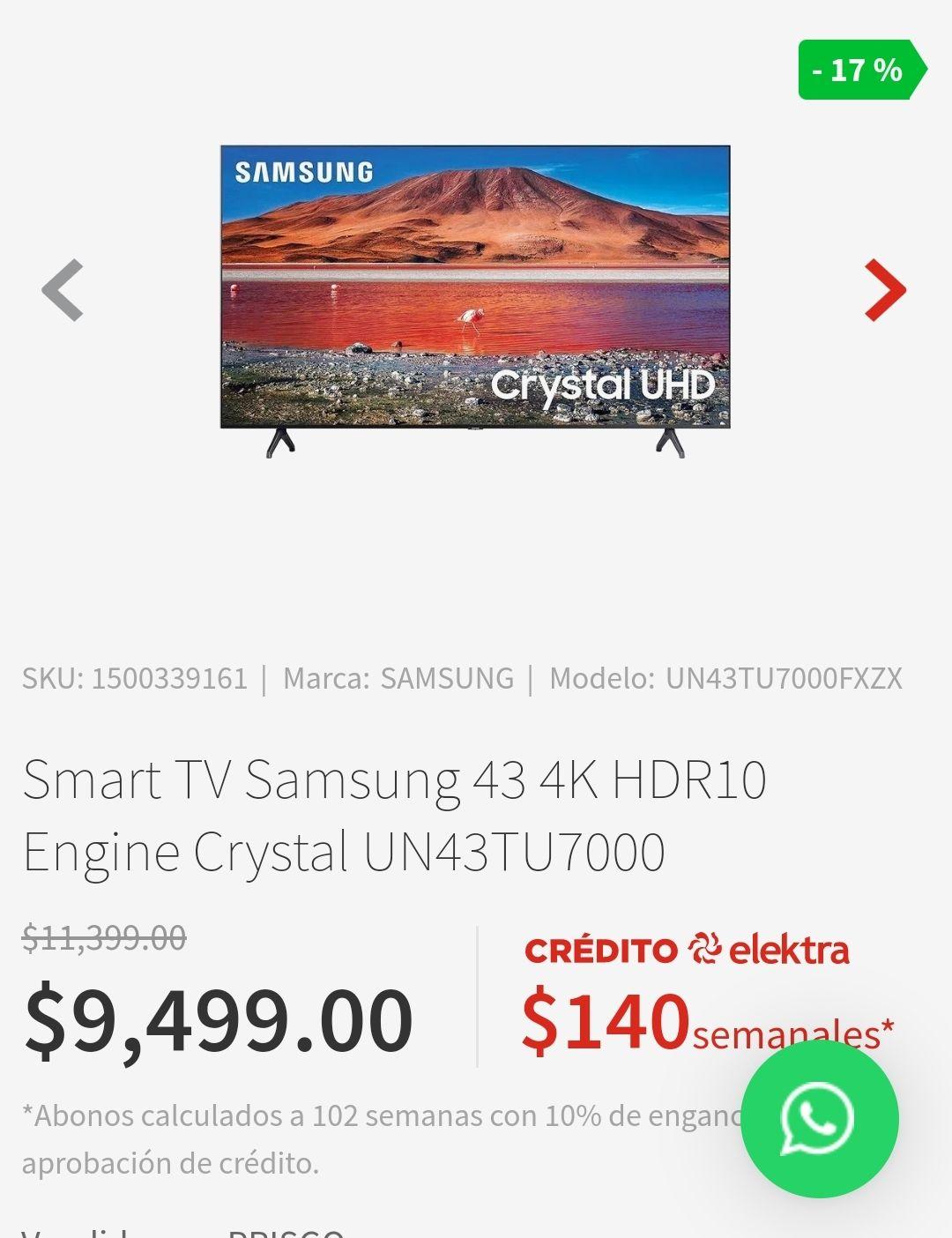 Elektra: Smart TV Samsung 43 4K HDR10 Engine Crystal UN43TU7000