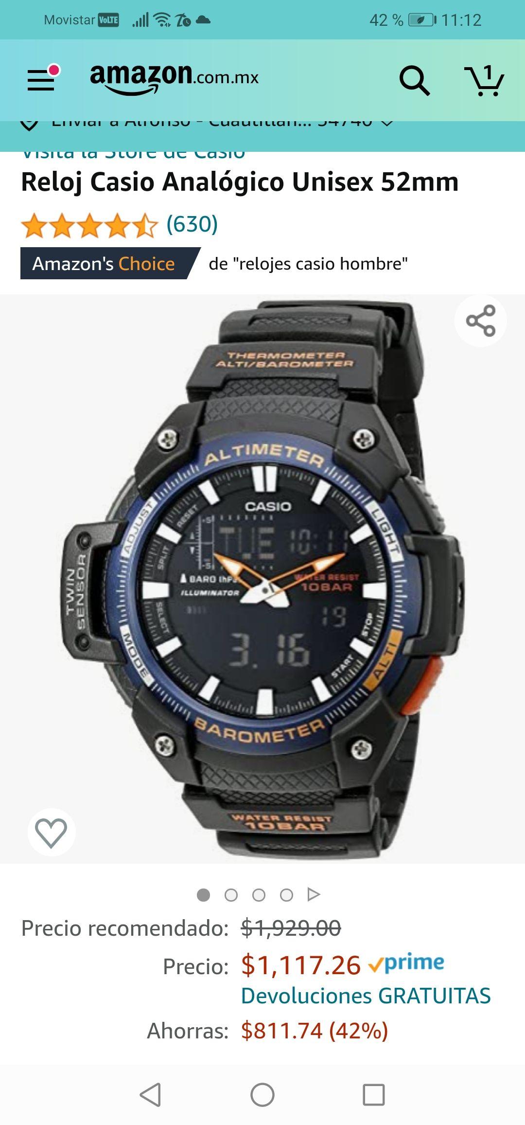 Amazon: Reloj Casio con Barómetro