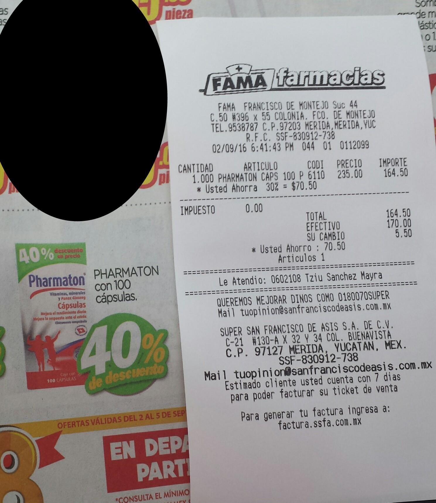 Farmacia Fama Mérida Yucatán: Pharmaton frasco con 100 pastillas