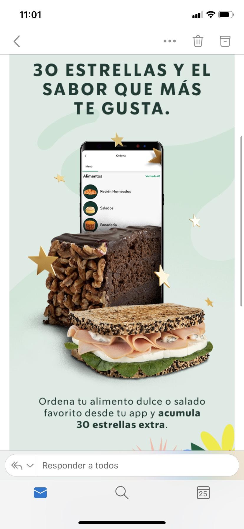 Starbucks: 30 estrellas extras al ordenar 2 alimentos desde la app