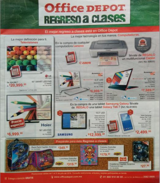 Folleto de ofertas en Office Depot julio 2014