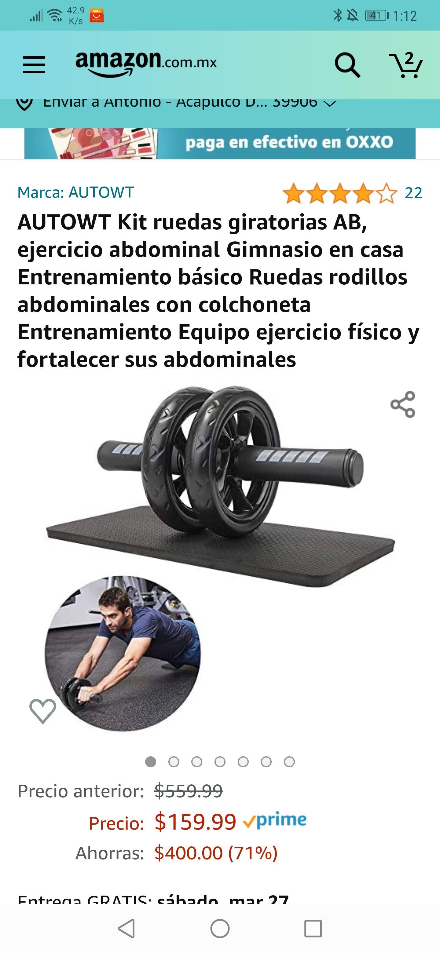 Amazon : Kit Rueda y tapete para abdominales