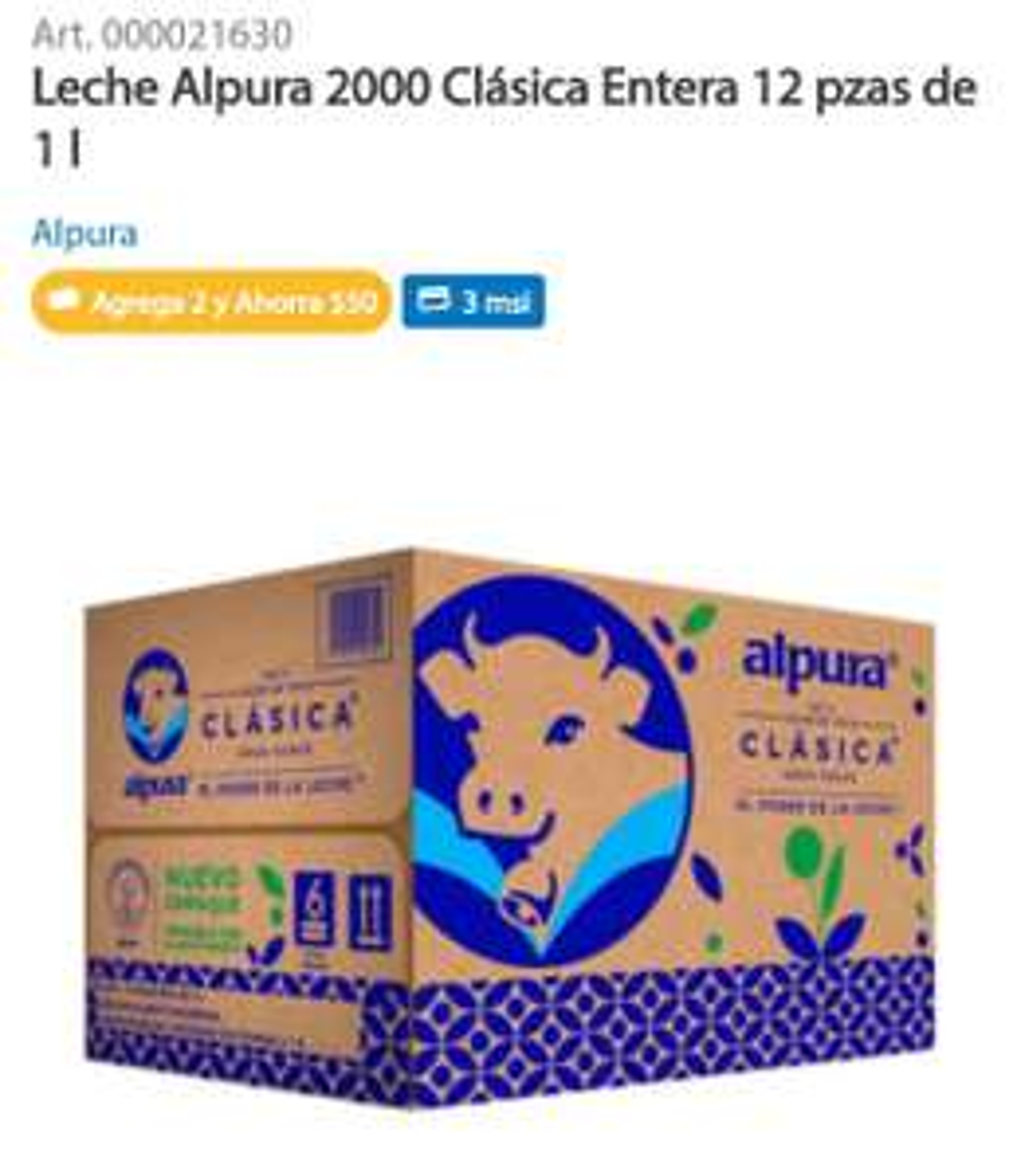 Sam's Club: Leche Alpura Entera 2000 (Precio por litro al comprar dos paquetes de 12L)
