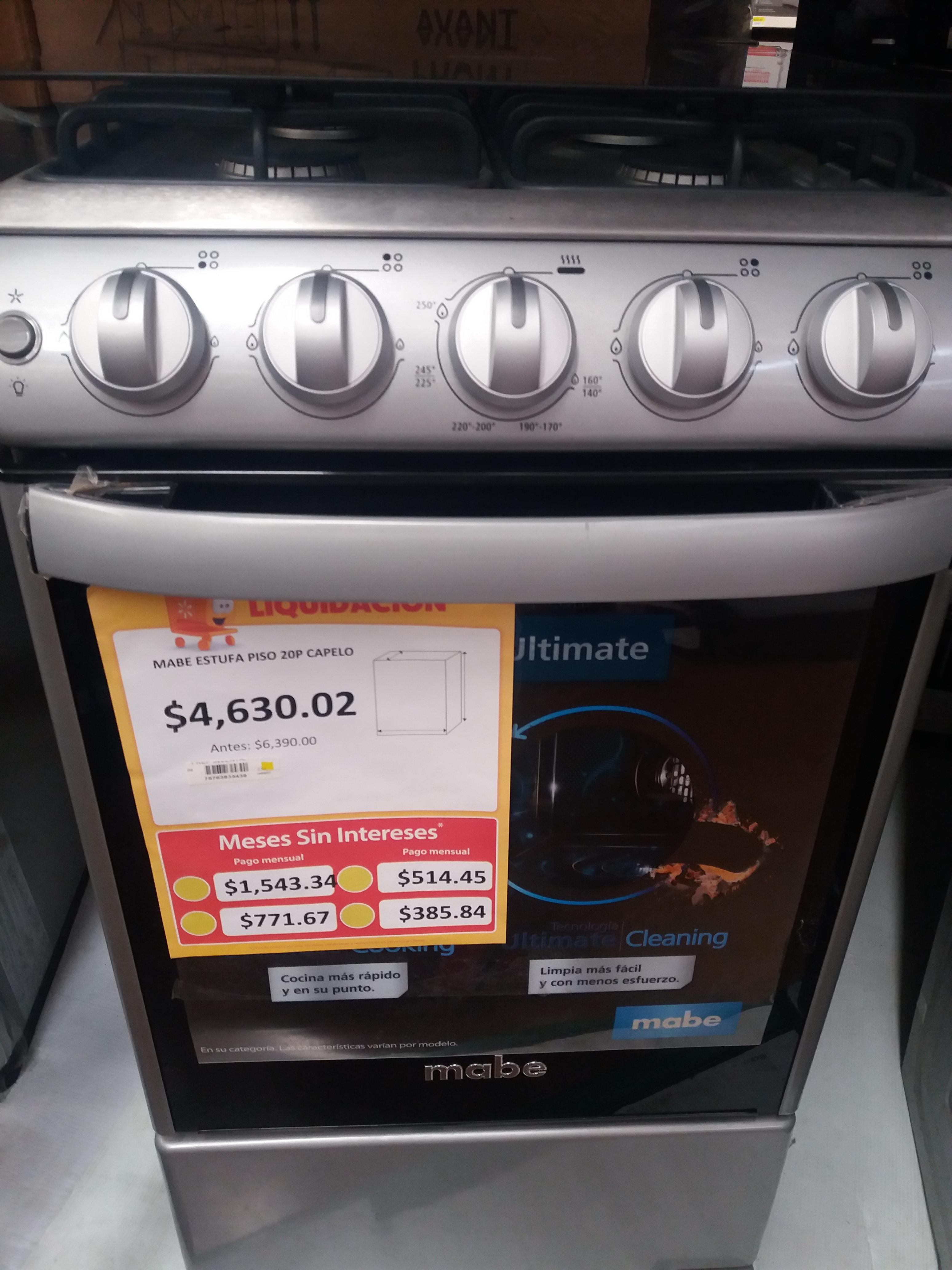 Walmart: Estufa mabe c/capelo y algunas etiquetas.