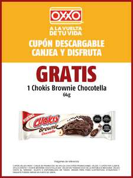 OXXO: Chokis Brownie chocotella GRATIS con cupón
