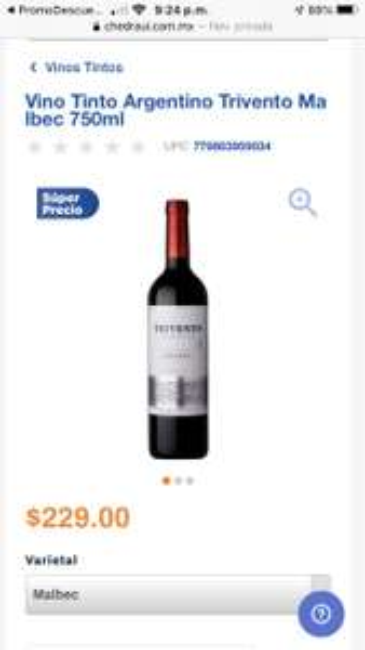 Chedraui: 2x$377.60 Vino Tinto Trivento Malbec Argentina 750 ml c/u